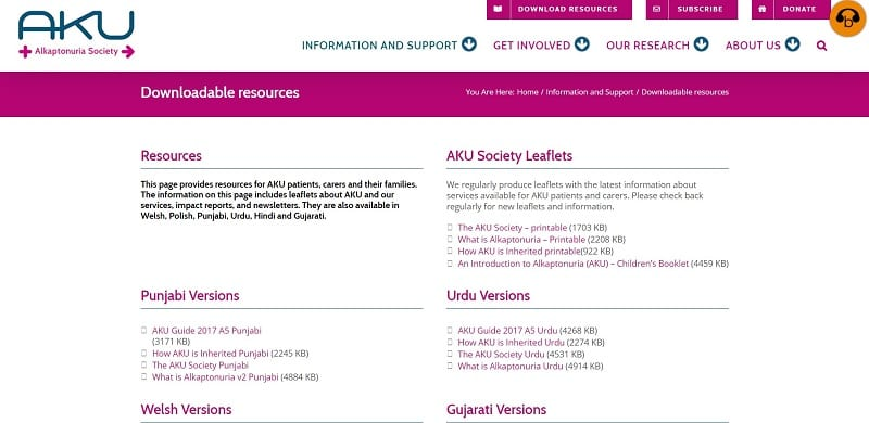 a screen shot of the AKU Society website downloadable resources